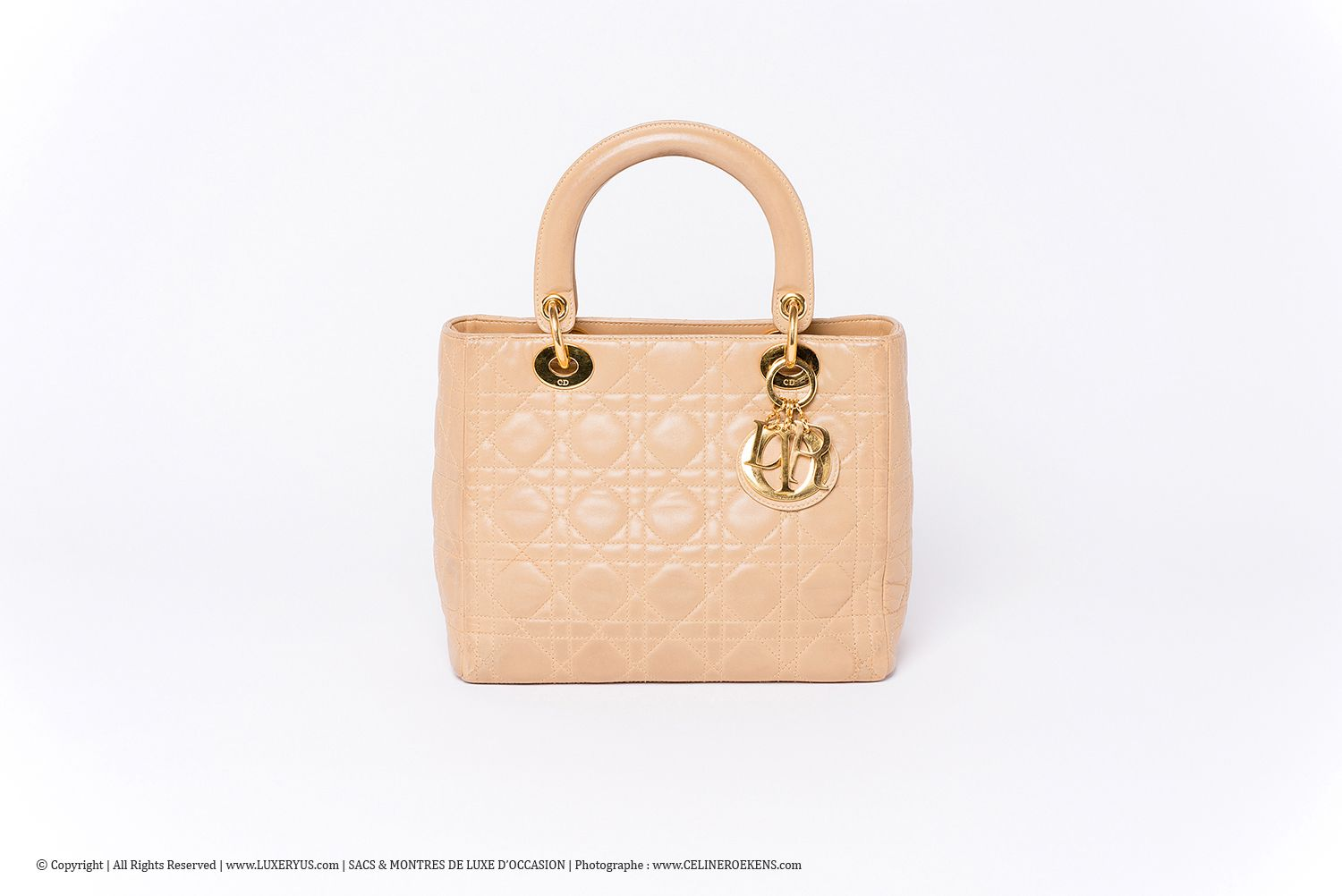 dc835e21c0c3 Sac à main Lady Dior Medium Authentique d occasion vintage en cuir Cannage  beige et