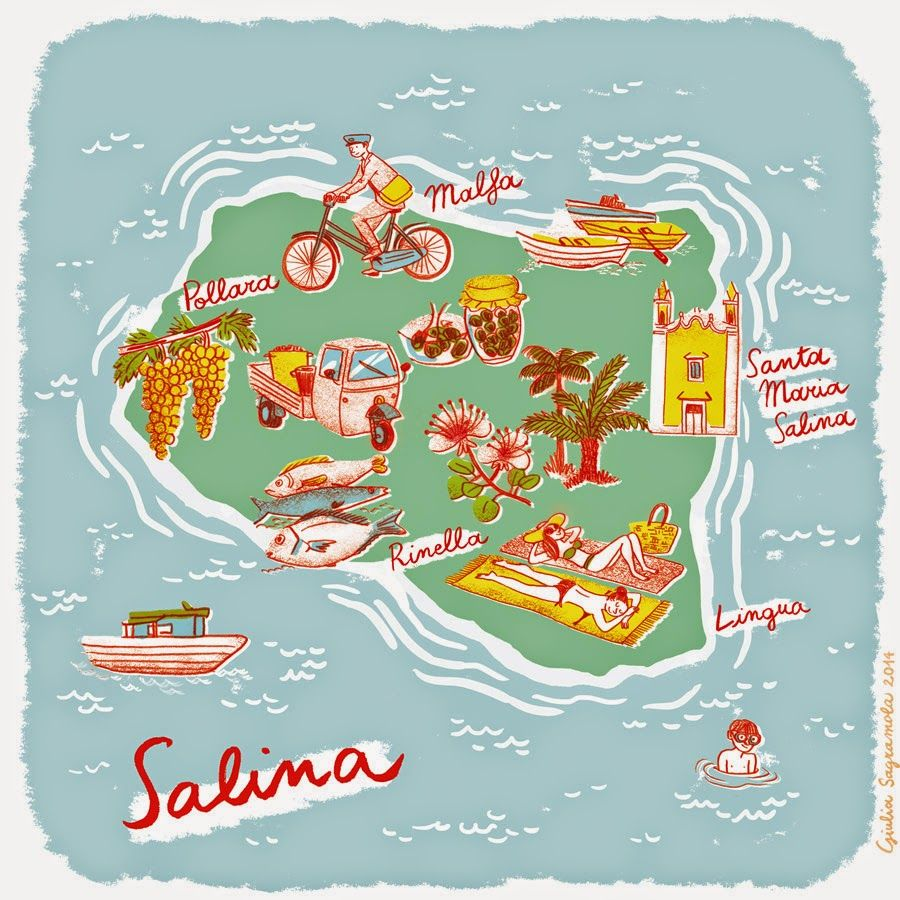 Giulia Sagramola Map of Salina Aeolian islands Italy Adventure