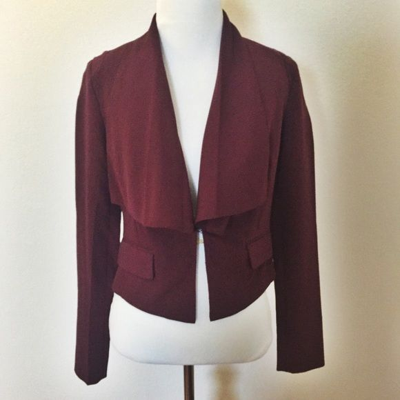 Love21 Draped Asymmetrical Jacket in Burgundy Open Front. Fully Lined. Lightweight. 74% Polyester. 20% Viscose. 6% Spandex Jackets & Coats