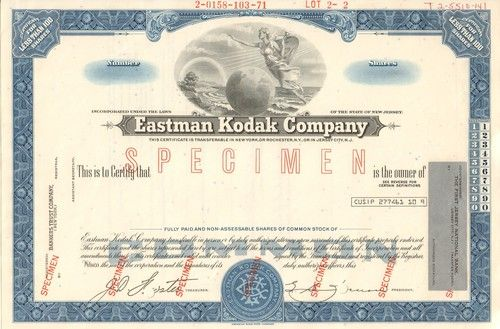 Rare specimen cert - Eastman Kodak Company stock certificate specimen (New Jersey). Company produced film and cameras but was forced into bankruptcy by the digital age.