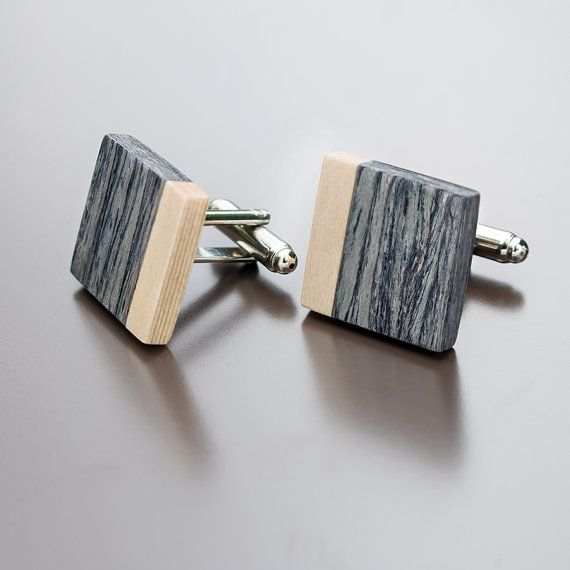 Wooden cufflinks  Grey Oak for him mens by BugAccessories on Etsy