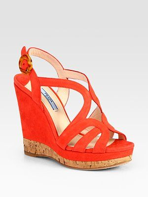 46e7efcbf6b Prada Suede And Cork Multistrap Wedge Sandals in coral. From Saks Fifth  Avenue.