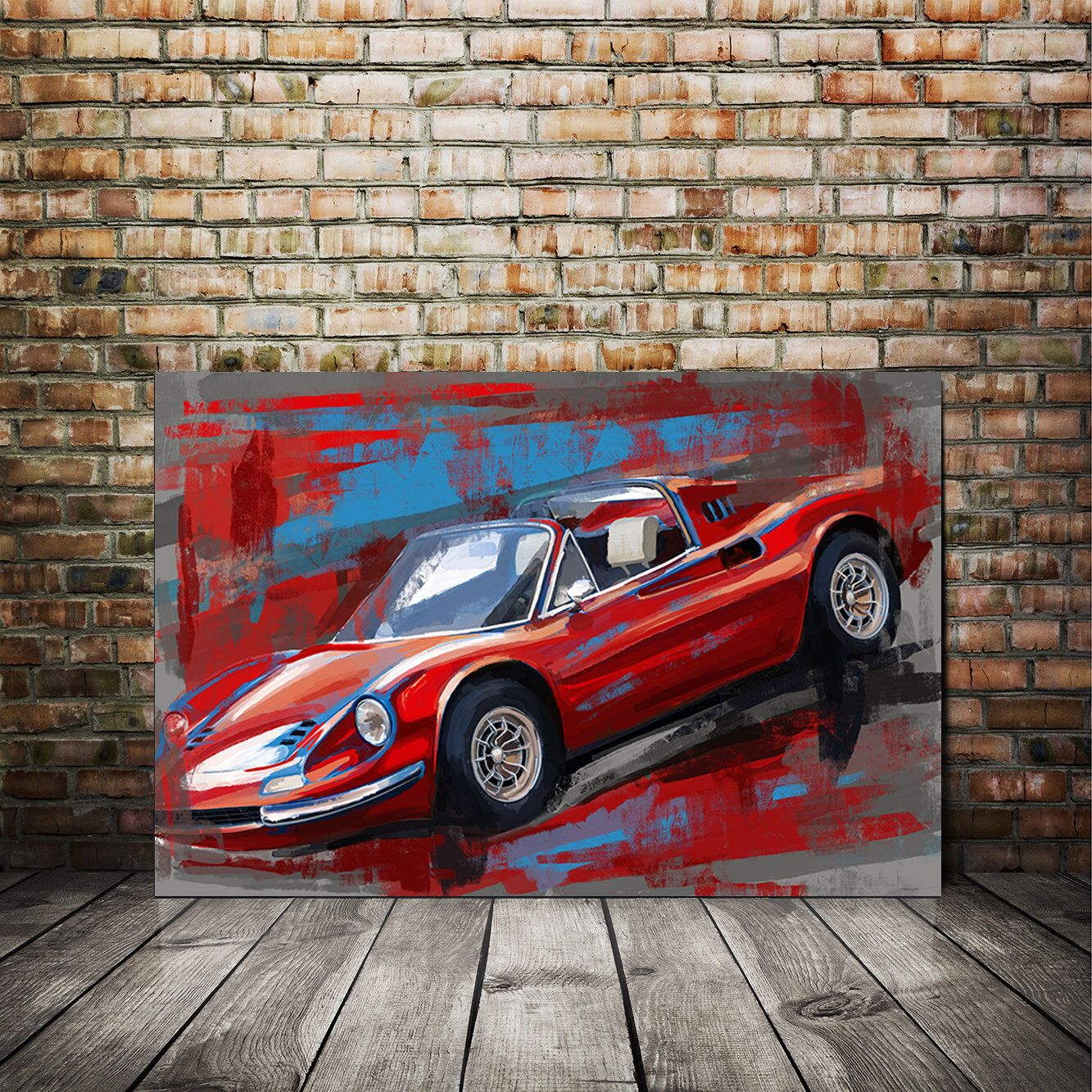 Ferrari Dino Red And Blue Canvas Or Giclee Print In 2020 Blue Painting Painting Automotive Art