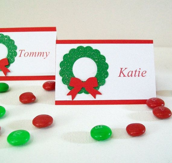Items Similar To Christmas Place Cards Personalized Holiday Dinner Name Glitter Wreath On Etsy