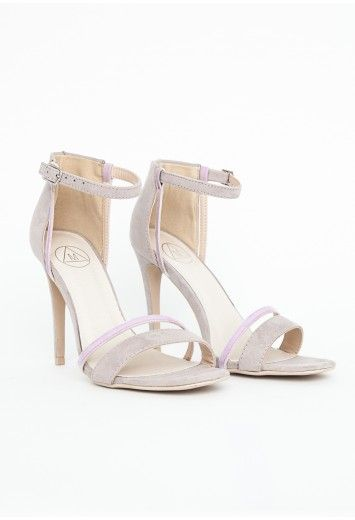 36343681d88 Victoria Suede Contrast Strappy Sandals In Light Grey - Footwear ...