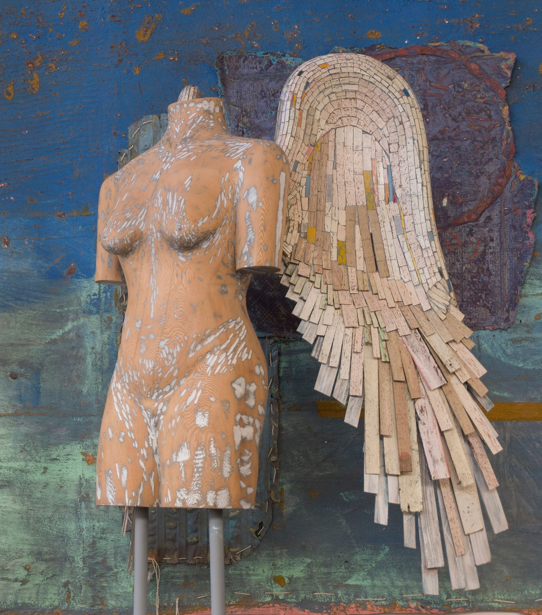DELOSS WEBBER, Visitation, mixed media, carved wood with