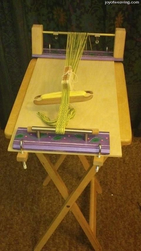 Easy Diy Tablet Weaving Loom Clamped To A Tv Tray Table Tablet Weaving Weaving Loom Diy Card Weaving