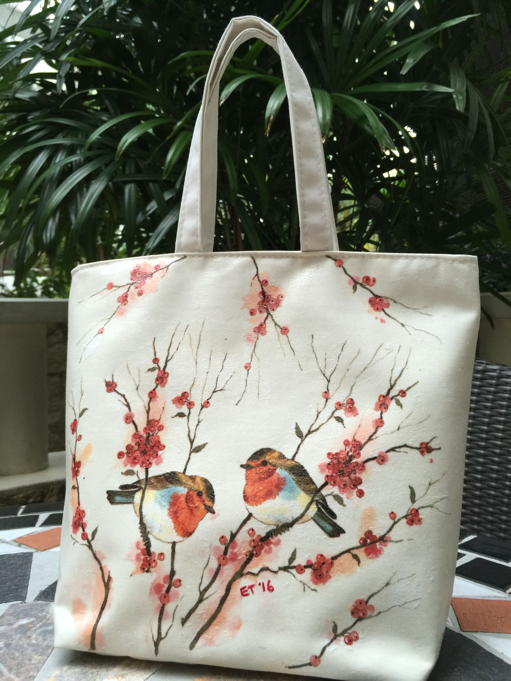 Decoupage on Fabric Bag