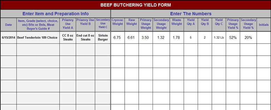 Beef Butchering Yield Form Beef Butcher Food Cost