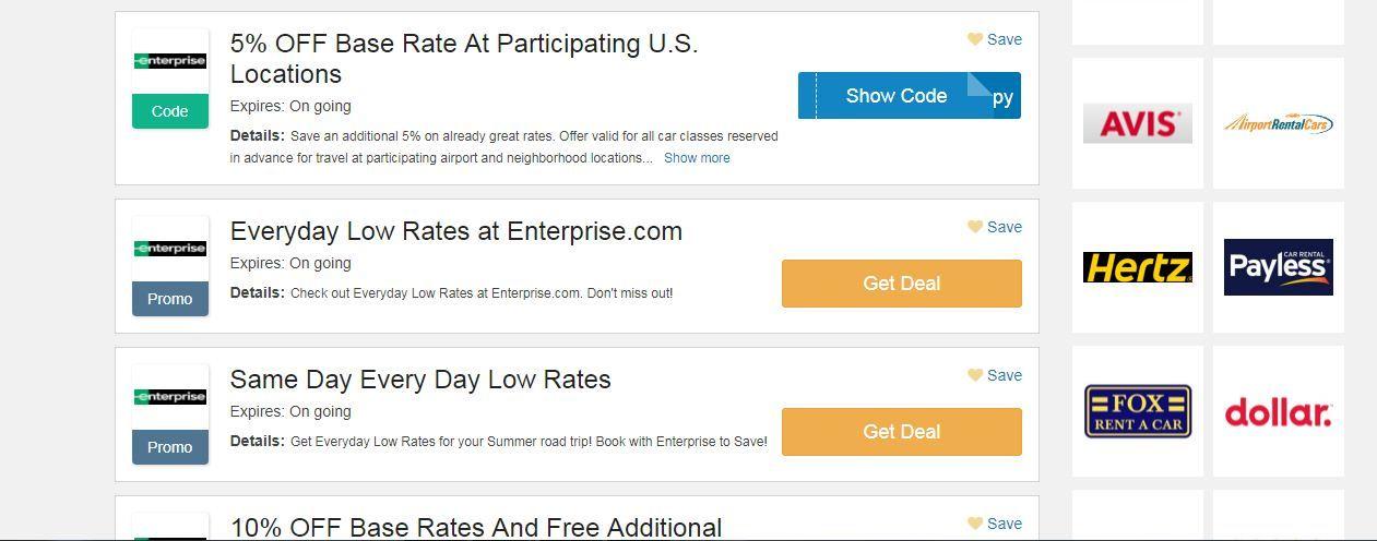 Enterprise Coupon Code 5 2019 Base Rate At Participating U S Locations Enterprise Car Rental Car Rental Deals Enterprise