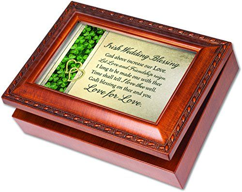 Irish Wedding Cottage Garden Wood Grain Finish Jewelry Music Box - Plays Song Irish Wedding Song * You can get more details by clicking on the image.