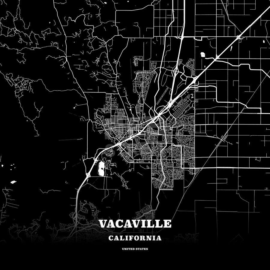 black map poster template of vacaville california usa maps