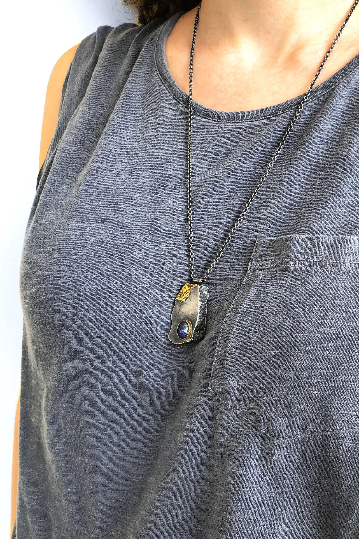 Dark oxidized silver and k gold lapis lazuli focal statement