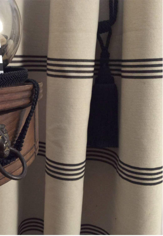 Modern Farmhouse Shower Curtain Stripe Black Ticking Tan Ticking