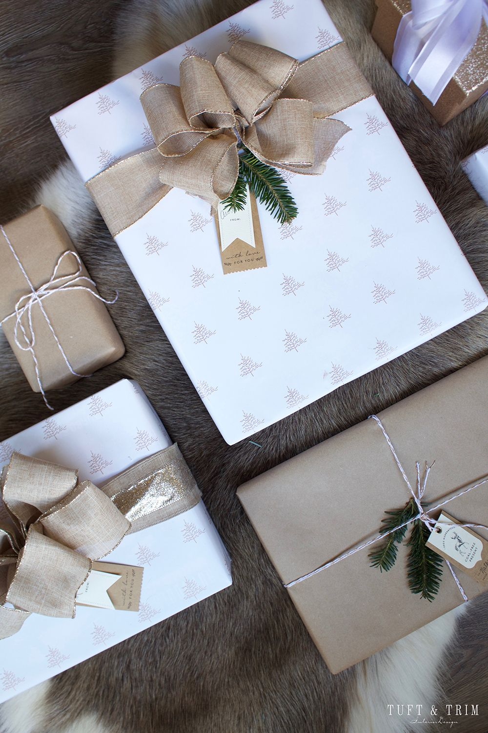 Champagne & Linen Christmas Gift Wrap - Tuft & Tri