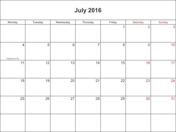 July 2016 Printable Calendar Template Editable | Christina