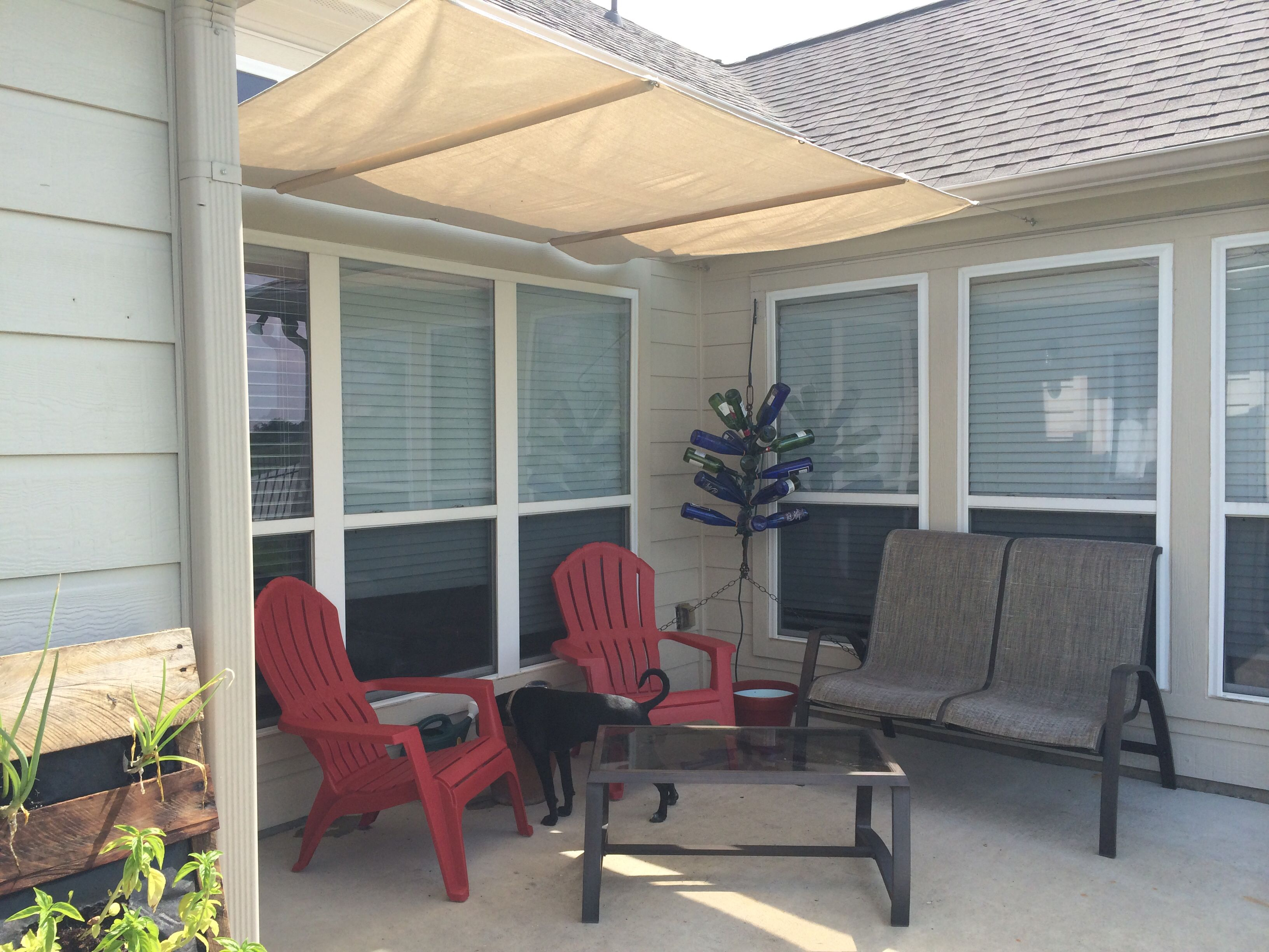 DIY Canvas Drop Cloth Patio Cover