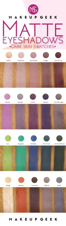 20 New & Reformulated Makeup Geek Matte Eyeshadows—Dark Skin Swatches