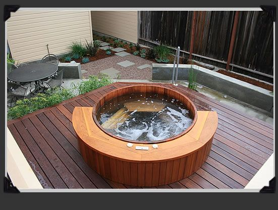 Rather than craning in a spa this one was assembled in the garden.  The raised ipe deck allows for easier access to the tub and created a more intimate space.