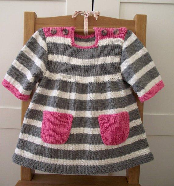 1e5a5db5a789 Knitting Pattern Baby Dress - Happy Day Baby Dress - baby girl ...