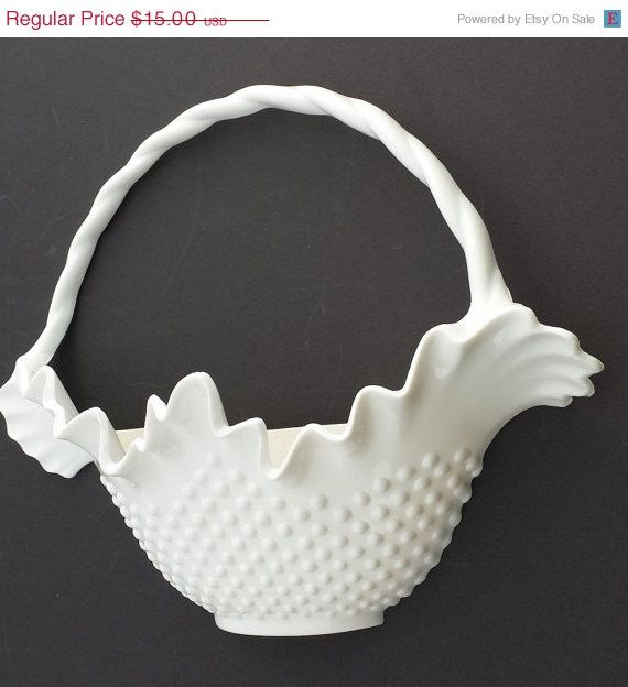 ON SALE Vintage Burwood Hobnail Basket Wall Hanging Large