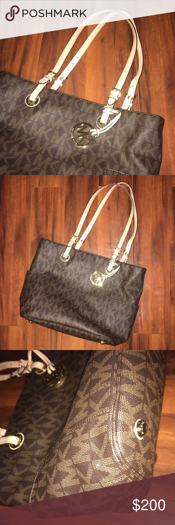 Authentic Michael Kors Tote Brown   cream MK tote with signature MK logo  all over   Metal feet on bottom   Small flaw on side, barely noticeable  even up ... 27858e02f7