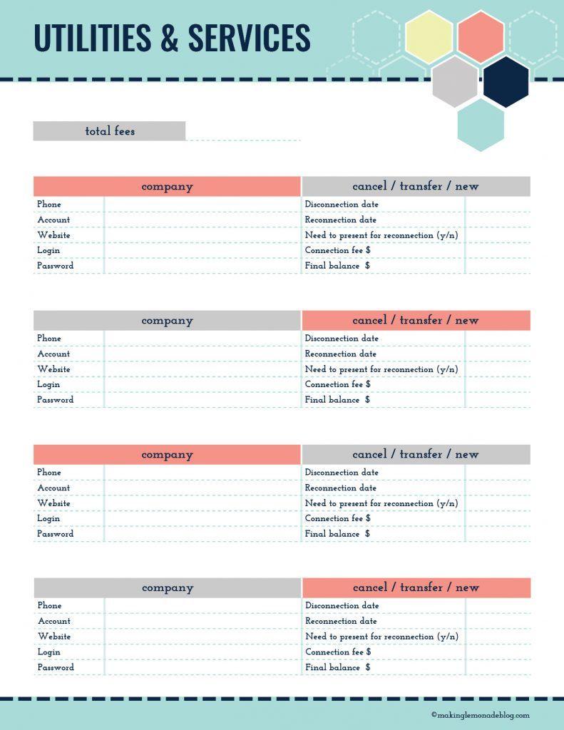 UtilitiesServicesWorksheet  Printables    Utility