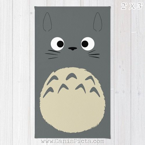 Totoro Kawaii My Neighbor RUG Home Decor Accent Decorative Kid Gift For Her Grey…