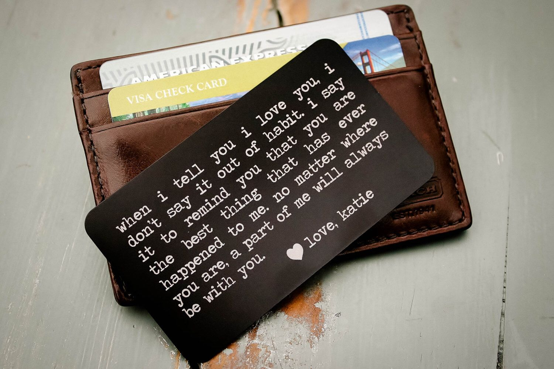 Wedding proposal Gift Valentines Day personalised Keepsake wallet cards