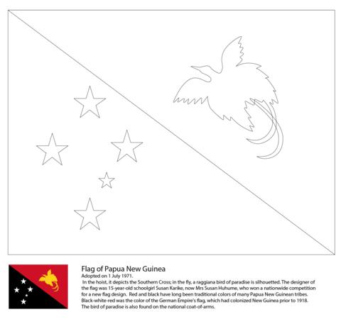 Bandera de Papúa Nueva Guinea Dibujo para colorear | Países de ...