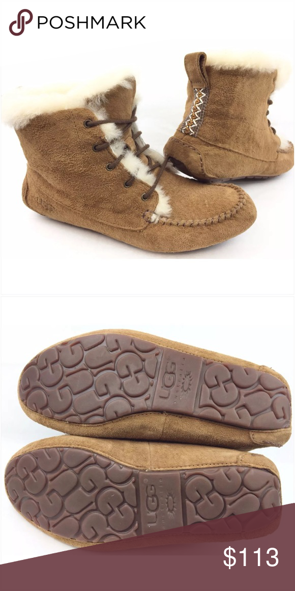 6a487b2128c UGG Chickaree Chestnut Moccasins Slippers Booties Used in great ...