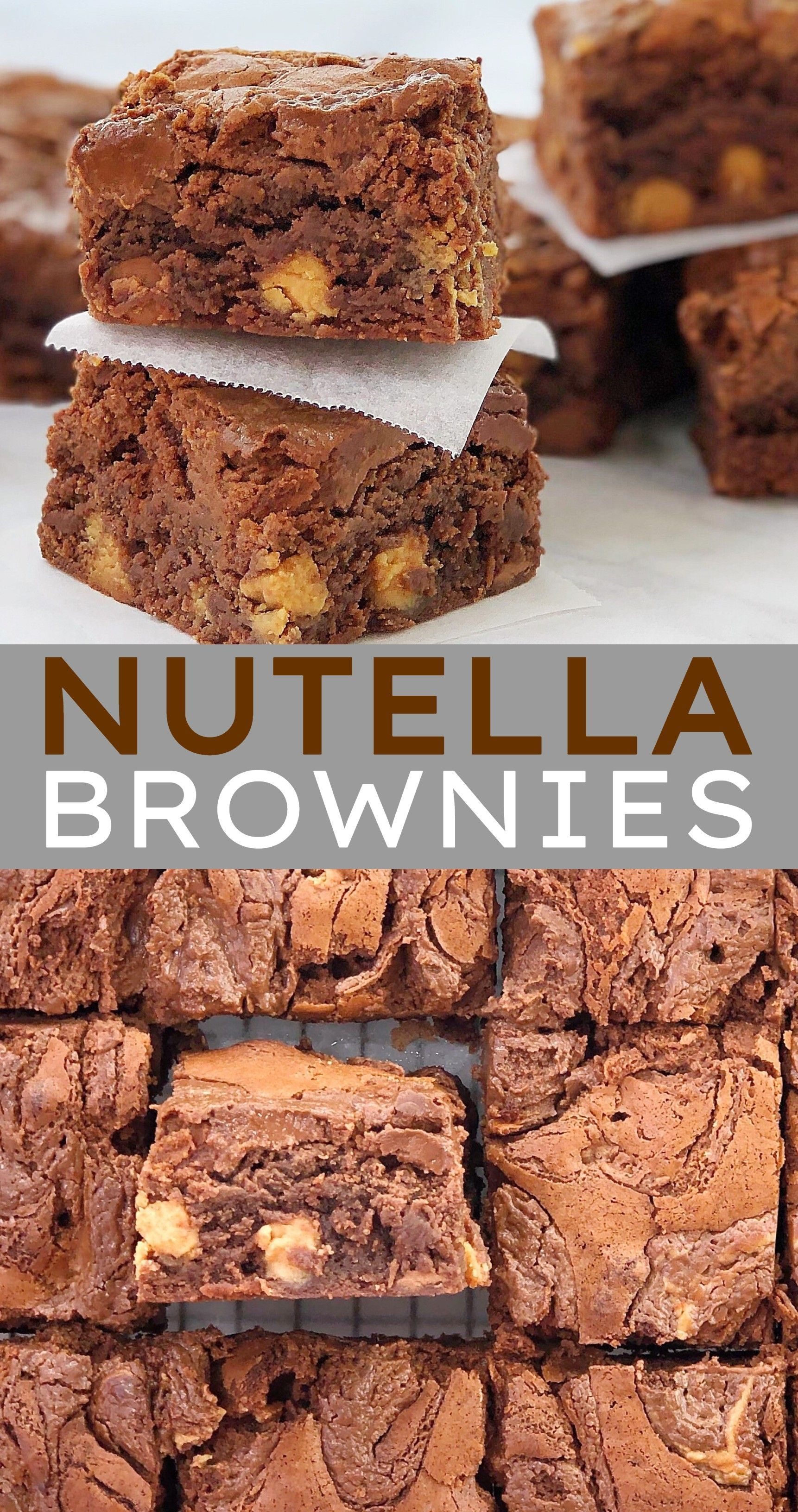 Easy Nutella Brownies Perfect to add to your dessert recipes rotation. Stuffed with peanut butter c