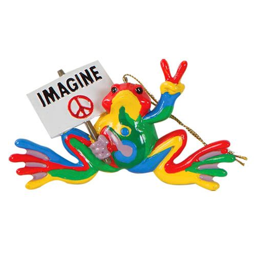 Peace frogs 4 resin retro imagine ornament