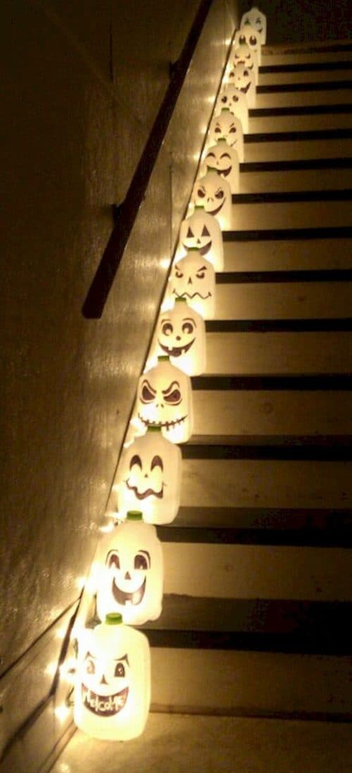 Milk Jug Gallon Ghost Hallow Stair Lights.  #halloweendecorations