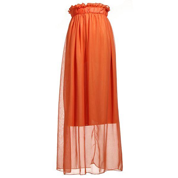 New Fashion Ladies Chiffon Candy Colored Long Maxi Elastic Waist Summer Skirt