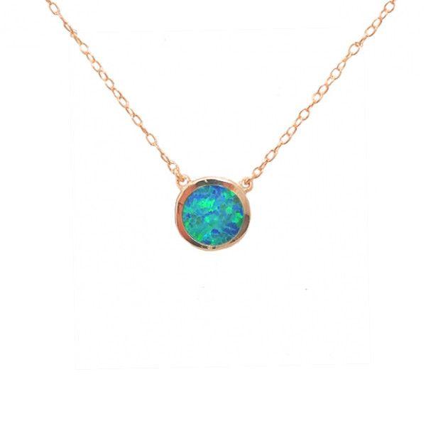 Rose Gold Vermeil Solitaire Necklace #opalsaustralia