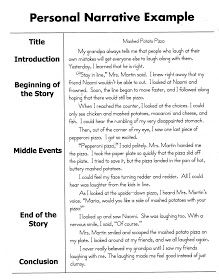 Personal Narrative Essay Sample 5th grade writing ideas