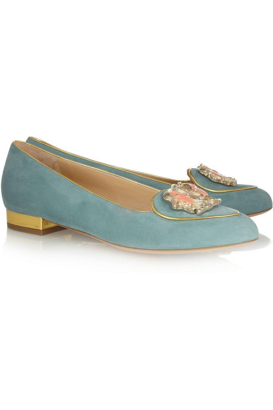 Charlotte Olympia|Gemini suede slippers|NET-A-PORTER.COM
