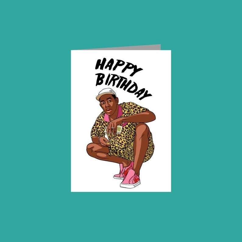 Tyler Birthday Card Gift Novelty Hip Hop Rapper Birthday Cards Etsy Birthday Cards Pink Happy Birthday Happy Birthday Cards