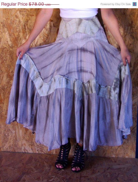 HALF OFF Vintage 1970s Gray Tie Dye Silk Cotton Lace Hippie Festival Festy Maxi Skirt XS/S on Etsy, $39.00