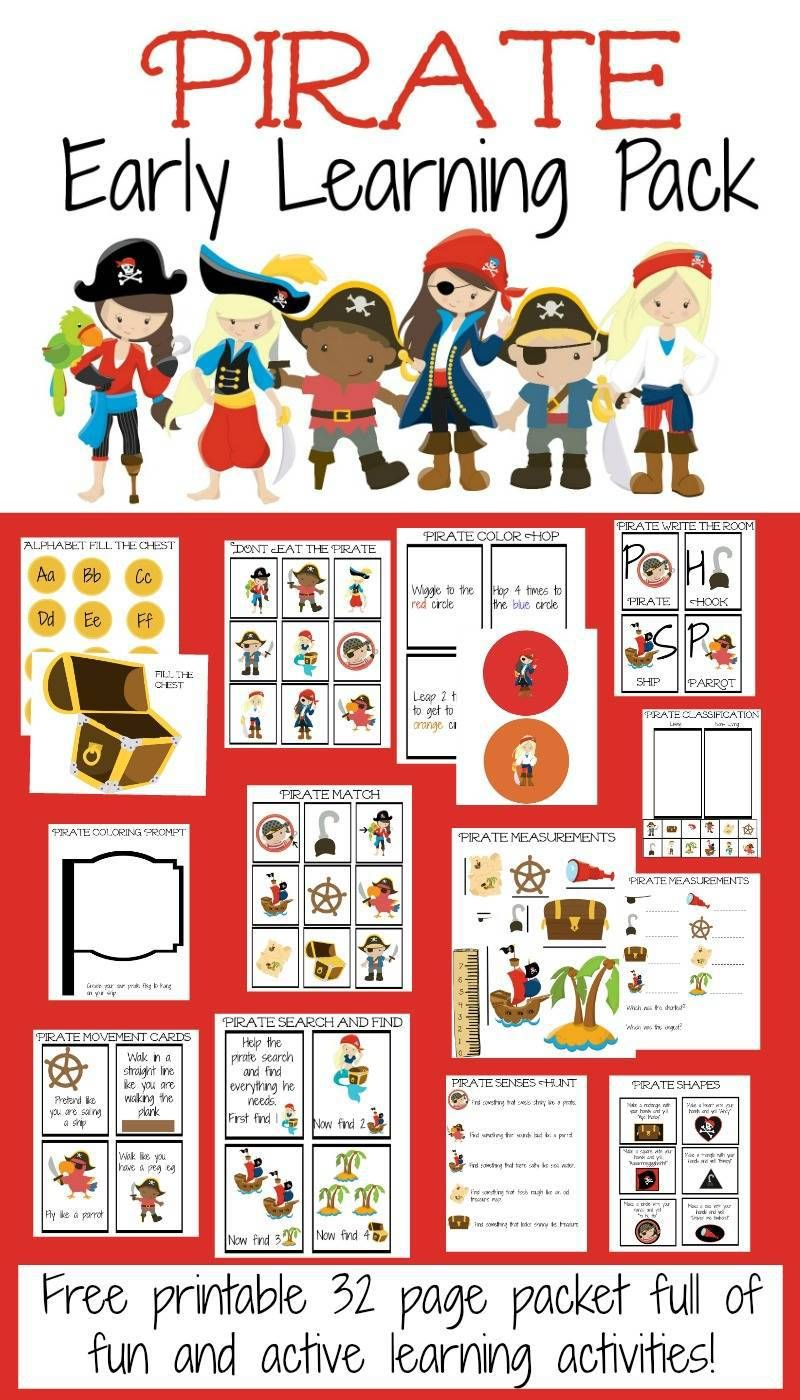 Free Pirate Early Learning Pack Early Learning Pirate Activities Pirate Preschool Pirate worksheets for preschool