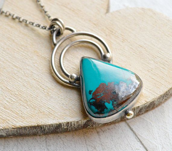 Chrysocolla Necklace. Turquoise Colored Pendant. by EONDesign