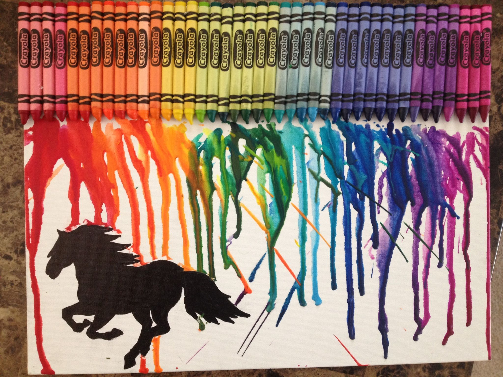 Horse arts and crafts - Horse Silhouette Crayon Art