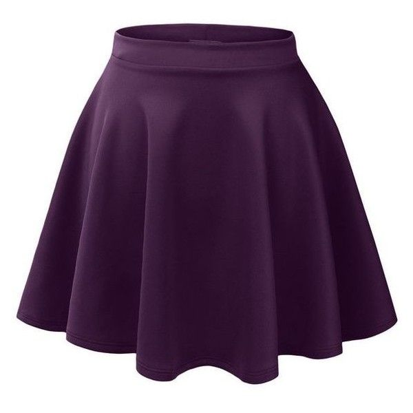 LE3NO Womens Basic Versatile Stretchy Flared Skater Skirt ❤ liked on Polyvore featuring skirts, flared hem skirt, knee length skirts, circle skirt, purple skater skirt and flare skirts