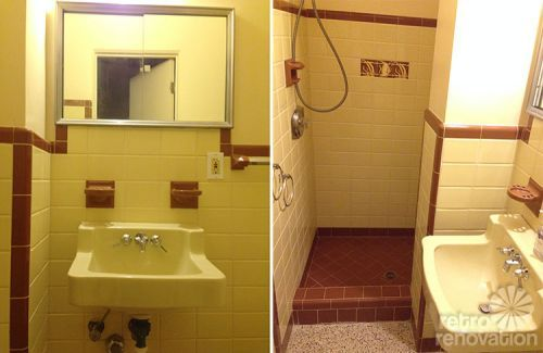Ideas To Tone Down The Sea Of Pink In Gus Pink Bathroom Yellow Bathroom Tiles Yellow Bathroom Walls Yellow Bathrooms