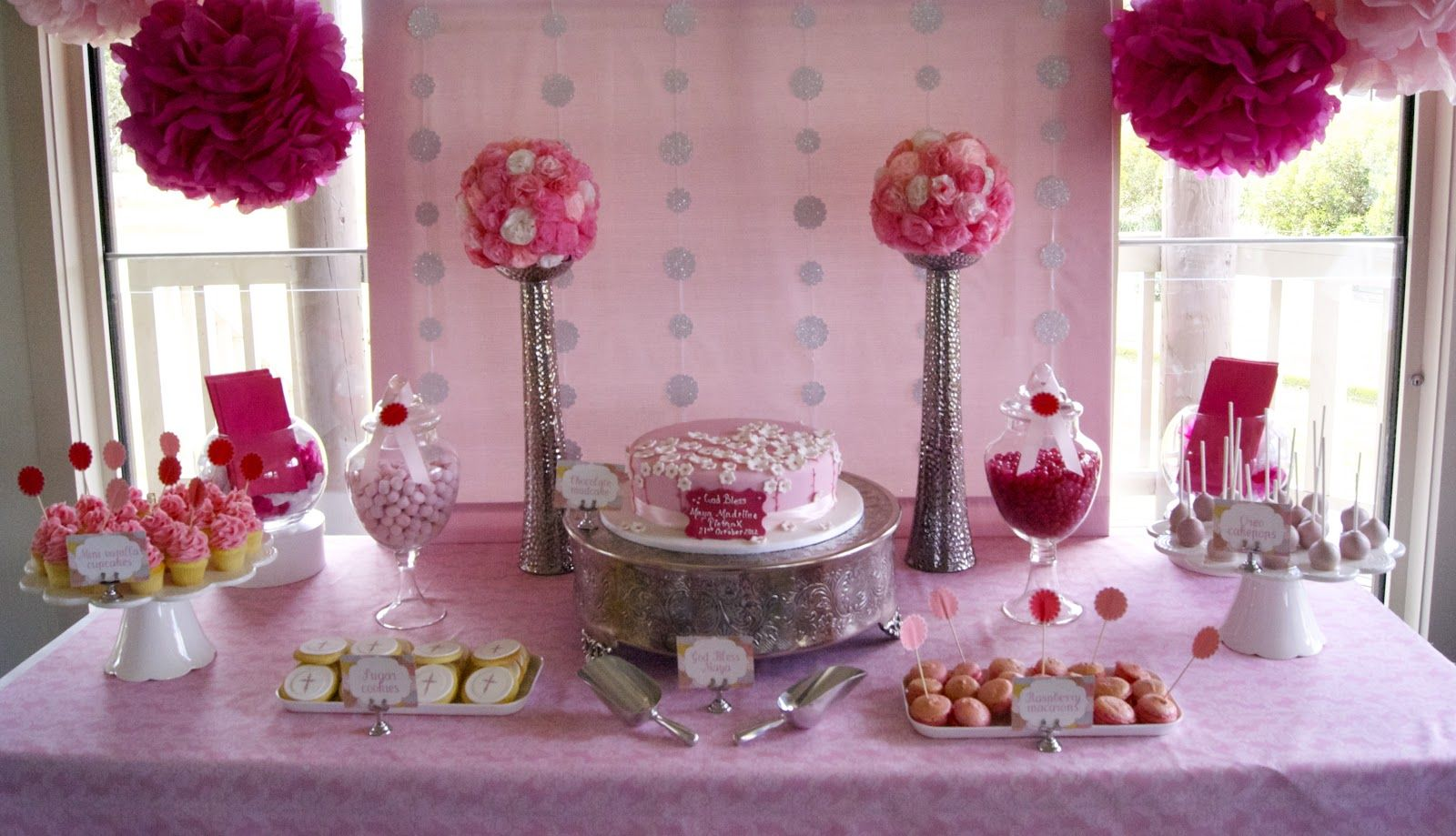 Simple Pink Christening Table With Pompoms Christening Table