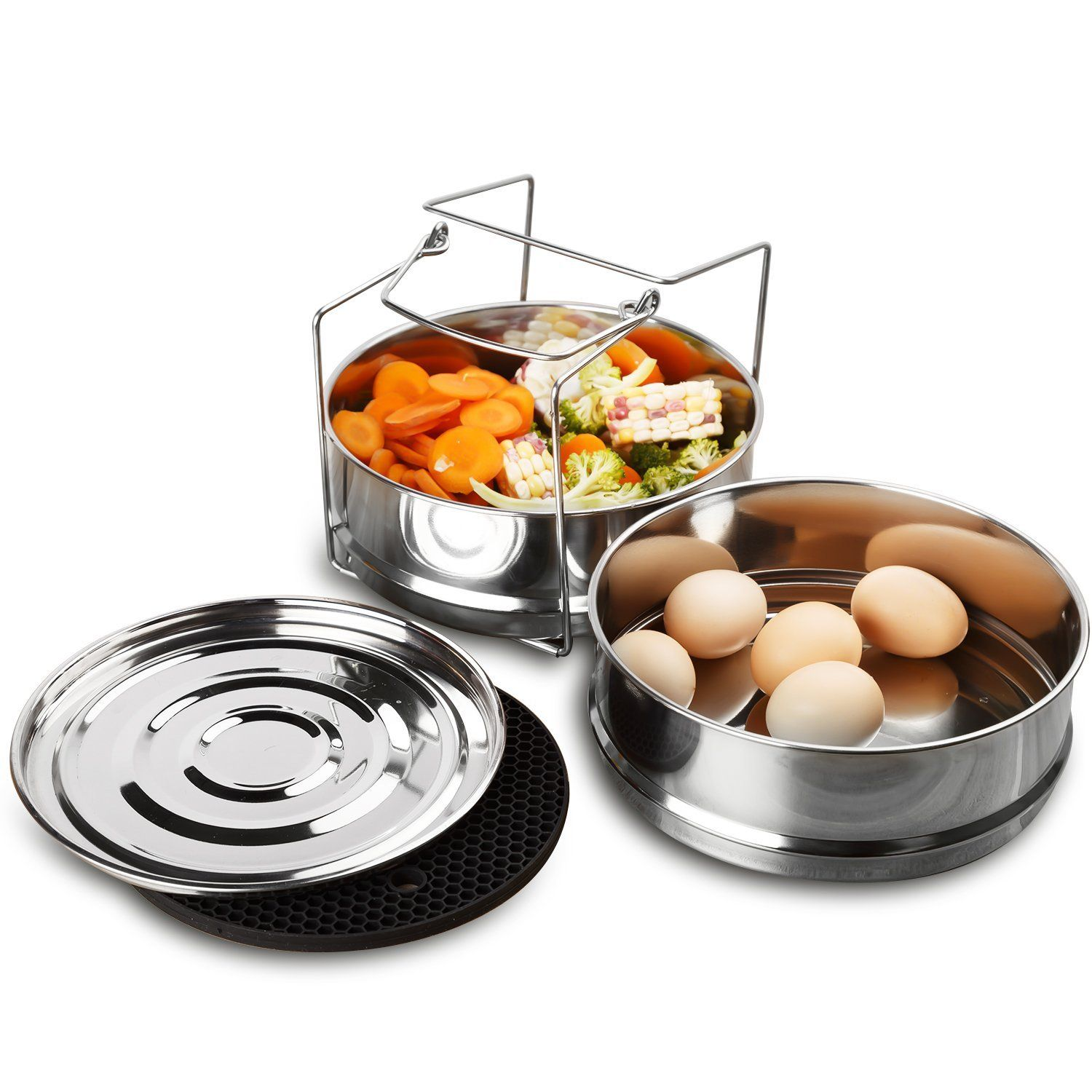 Aozita stackable 2 tier stainless steel pressure cooker