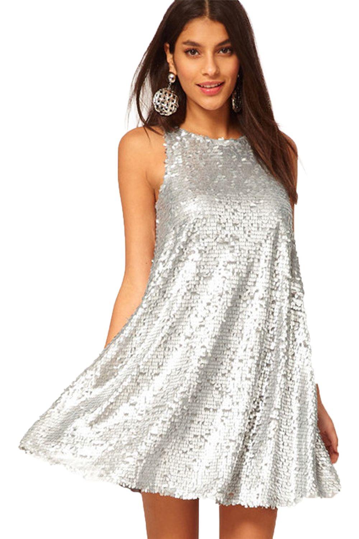 Sexy 0-neck Sleeveless Sequins Loose Mini Dress