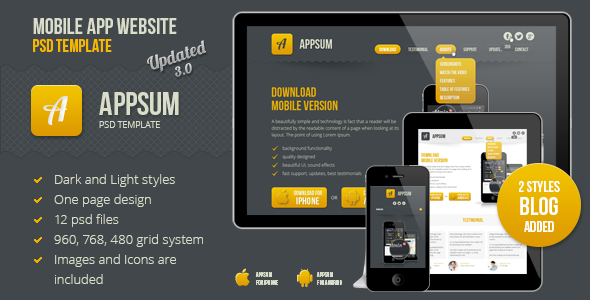 See More Appsum OnePage Mobile APP PSD TemplateYes I can