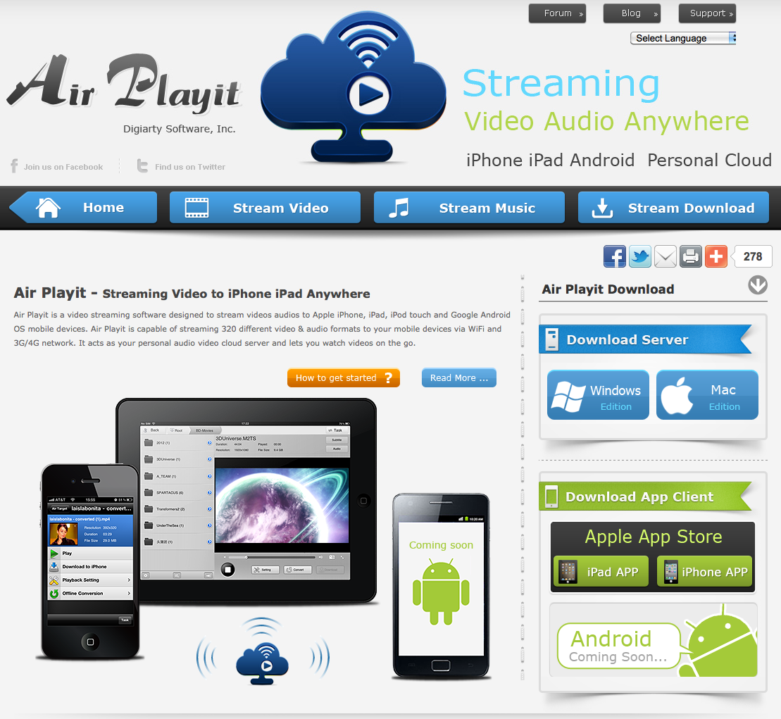 Air Playit is a free video streaming software app designed